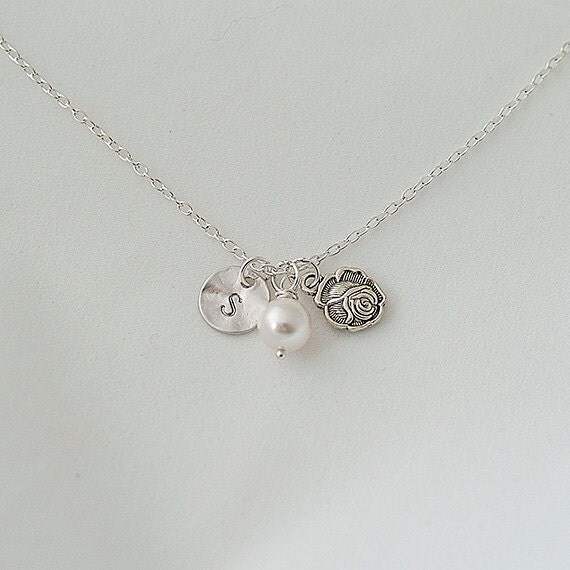 Personalized Initial Silver Flower, Rose Nnecklace, Swarovski Pearl Necklace