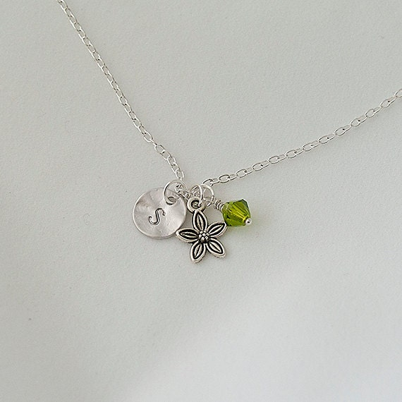Birthstone Necklace, Personalized Initial Silver Flower Nnecklace, Swarovski Crystal Necklace