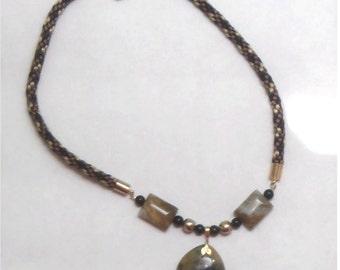 Gemstone Necklace - Geo - Jasper and Kumihimo Braided Satin