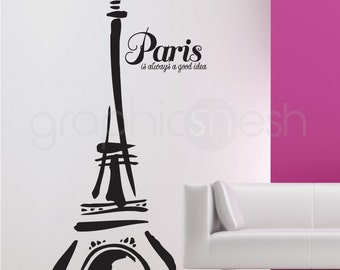 ABSTRACT EIFFEL TOWER - Paris is always a good idea - Wall Decals with Quote interior decor by GraphicsMesh