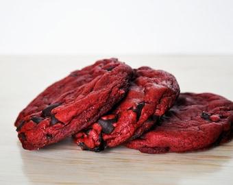 Red Velvet White Chip Cookies | One Dozen!