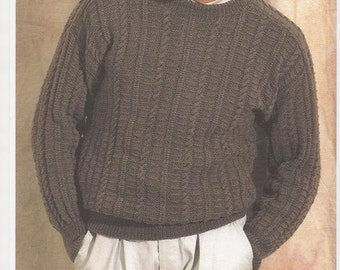 Mens Sweater, Knitting pattern for mens sweater, Vintage knitting pattern for mens jumper. Mens round neck jumper.Knitting pattern only.