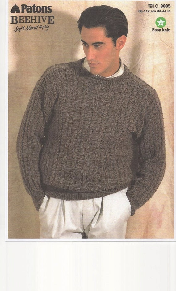 Knitting Pattern Hoodie Mens : Mens Sweater Knitting pattern for mens sweater Vintage