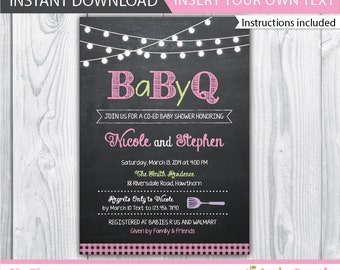 bbq baby shower invite / bbq baby shower invitation / baby shower bbq invitation / couples baby shower bbq / babyque invitation / INSTANT