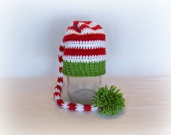 Crochet Long Tail Stocking Cap, Elf Hat, Christmas Hat