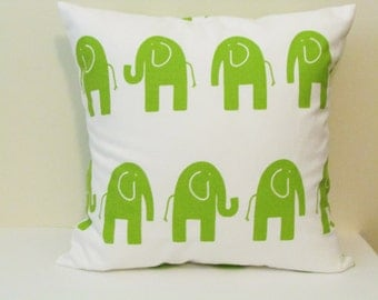 Green And White, Chartreuse Pillow Cover With Elephants,  Kids Pillow, Elephant  Nursery Pillow