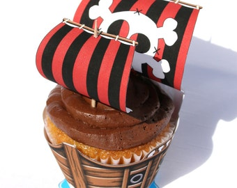Pirate Ship Cupcake Wrapper (Instant Download)