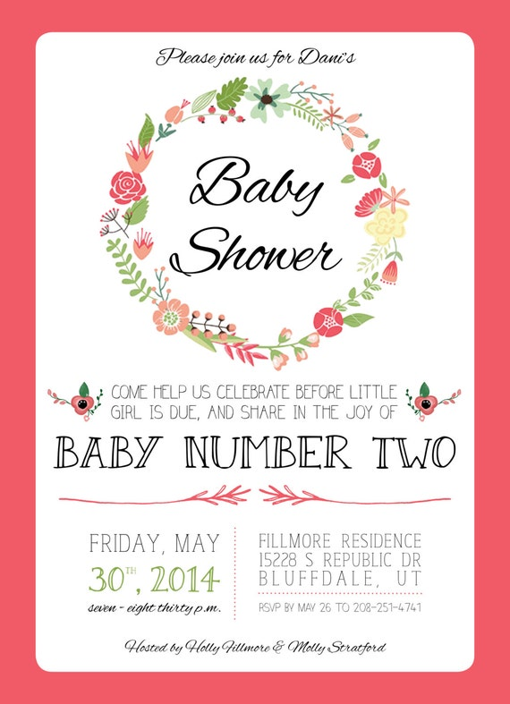spring baby shower invitation for baby girl first or second baby