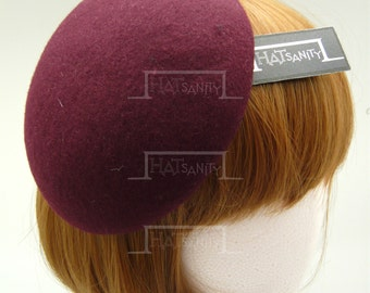 TRENDY x CUTE Fashion Plain Wool Felt Mini Beret Fascinator - Burgundy