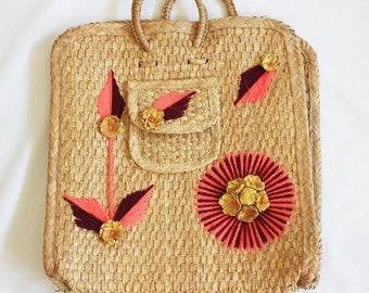 embroidered straw beach tote
