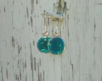 Aqua Colored Flower Print Earrings - Beautiful Color!