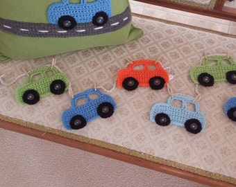 Crochet Car Garland Bunting with 3 cars 80cm