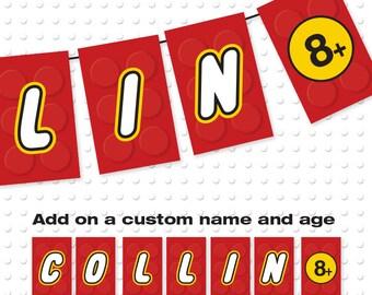 Building Block Birthday Banner Custom Name Birthday Banner / Printable / Party Decoration / DIY