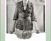 1920 Filet Crochet Sweater & Hat Pattern - Floral-Beading - Printable Digital Pattern (.pdf) - Immediate Download!