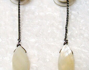 """French Earrings Pierced """"Nature"""" with Yellow Pearls and Shells"""