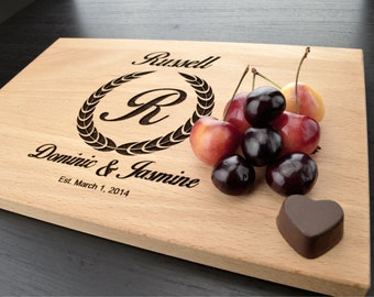 Monogram Cutting Board, Custom Wedding Gift, Engraved Wood Cutting Board, Personalized Wedding Gift, Anniversary or Housewarming Gift