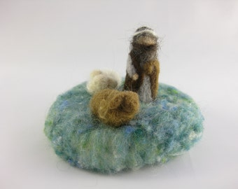 Mini Christmas nativity set; shepherd with two sheep; needle felted wool, Waldorf inspired miniatures, desk decoration