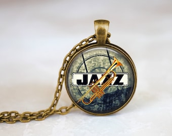 Jazz Trumpet Necklace, Jazz Quote Musician Necklace, Jazz Jewelry, Gifts For Jazz Lovers and Trumpeters, Jazz Lovers Music Necklace Pendant