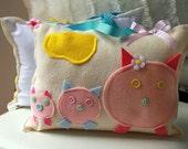 Girl Tooth Fairy Pillow, Pig Baby Nursery Decor, Personalized Pillow, Baby Nursery, Felt Pillow, Tooth Fairy Pillow For Girls, THREE PIGGIES