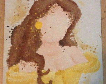 Disney Beauty and the Beast Belle Abstract Painting on Canvas