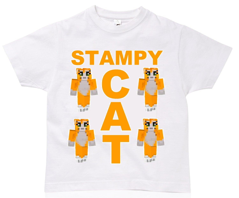 White Stampy Cat T Shirt 5-6 7-8 9-11 12-13 Years Tee Cool Kids Clothing Original Design