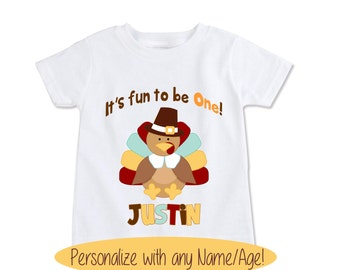 Baby's First Birthday, Kids Custom Name Thanksgiving Fall Turkey clothes, Personalized toddler shirt or bodysuit Boys outfit (EX 078)