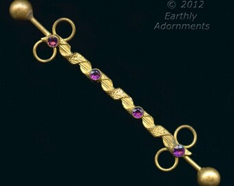Edwardian gilt brass and amethyst glass hat and hair ornament  (sked105)
