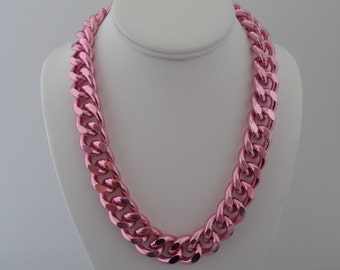 Pink Chunky Curb Necklace