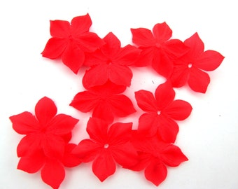 Shaped flowers of red silk pongee 10 size 35 mm