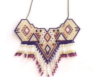 Handmade necklace in beads gold, burgundy and dark blue