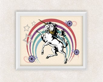 Unicorn Art Print - 8x10 - Retro Wall Art - Unicorn with Rainbow - Girls Bedroom Decor - Poster - Item #530