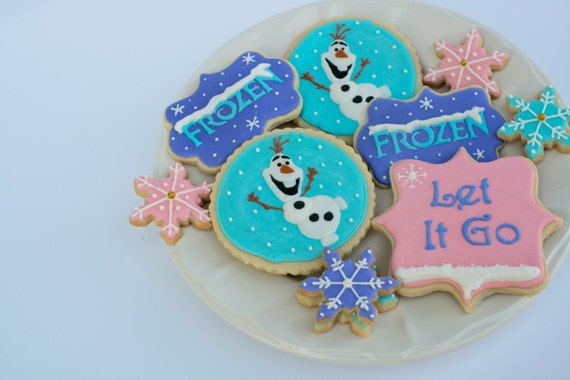 Frozen cookies, Olaf Cookies, Disney cookies, Frozen Birthday, Party Favors
