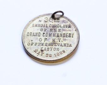 Masonic Knights Templar Medal Pennsylvania 1889