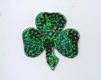 St. Patricks Day - Irish Shamrock - Clover - Green Sequin - Small, Medium or Large - Embroidered Patch - Iron on Applique