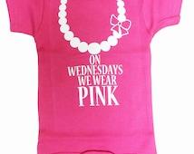 On Wednesdays We Wear Pink Necklace Baby Onesie