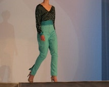 1960's Style High Waisted Linen Pants