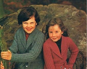 Vintage Knitting Pattern PDF: 1980s Childrens Shawl Collared Cardigan Instant Download Digital Copy