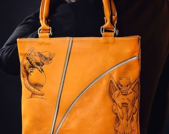 Men's leather handmade tote bag, pyrographied print Chimeras 2