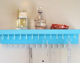 Necklace Organizer / Jewelry Holder / Teal Wall Hanging Necklace Display with Shelf; Multiple colors/sizes available!