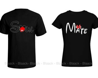 Couple T-shirt - Soul Mate - 2 Couple Tees Matching Love Crewneck T-shirts