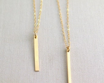 Small Gold Fill Bar Necklace • Geometric • Layering Necklace • Vertical Bar • Minimal • Dainty Gold Necklace • 14 K Gold Fill • Simple