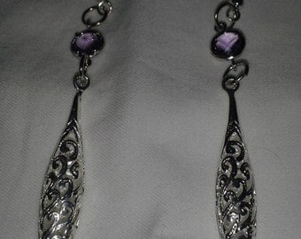Vintage Inspired Amethyst Crystal and Bright Silver Dangle Earrings = E102