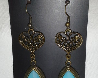 Victorian Inspired Earrings With Faceted Aqua Jade = E159