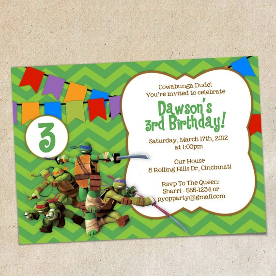Teenage mutant ninja turtles invitations template - photo#5