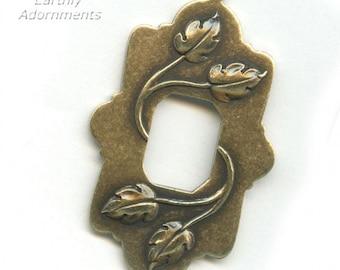 oxidized brass pendant with rectangular window,  48x30mm Pkg of 1.  b9-1042(e)