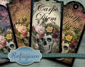 carpe diem skull tags digital collage sheet