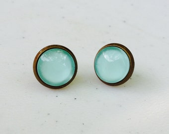 Mint Post Earrings. Titanium Hypoallergenic Studs (#022)
