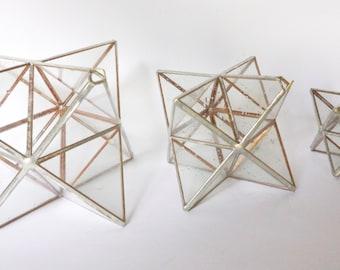 MERKABA STARGATE SUNCATCHERS - Sacred Geometric Prism Star Set of 3