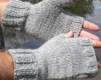 Fingerless Gloves Men's Handknit Light Gray Merino Wool & Mohair Handwarmers Men's Fingerless Gloves Gray Wool Mohair Fingerless Gloves