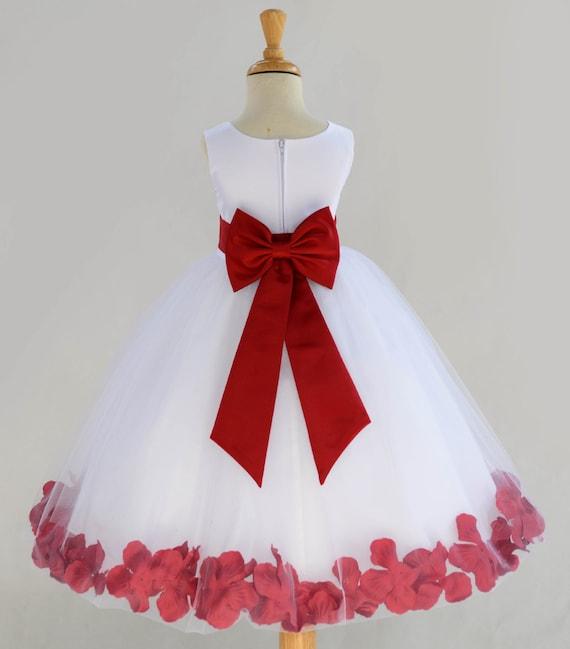 White flower girl dress bow sash pageant petals wedding bridal